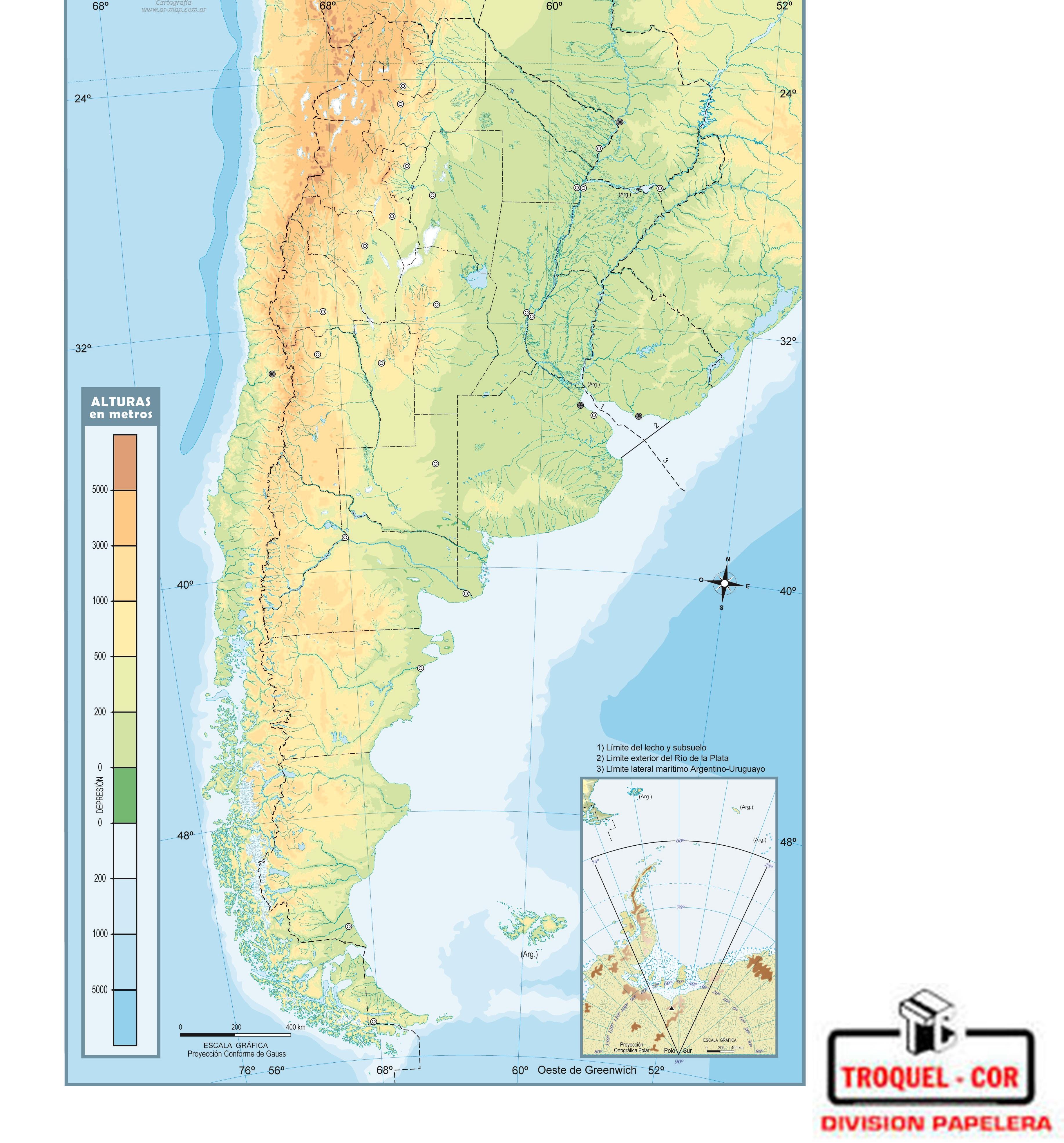 Mapa Físico Político Nº República Argentina Rivadavia - Argentina mapa