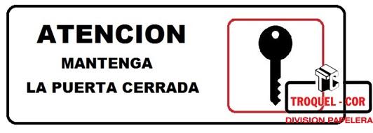Cartel Adhesivo 6x16 Atencion Mantenga La Puerta Cerrada
