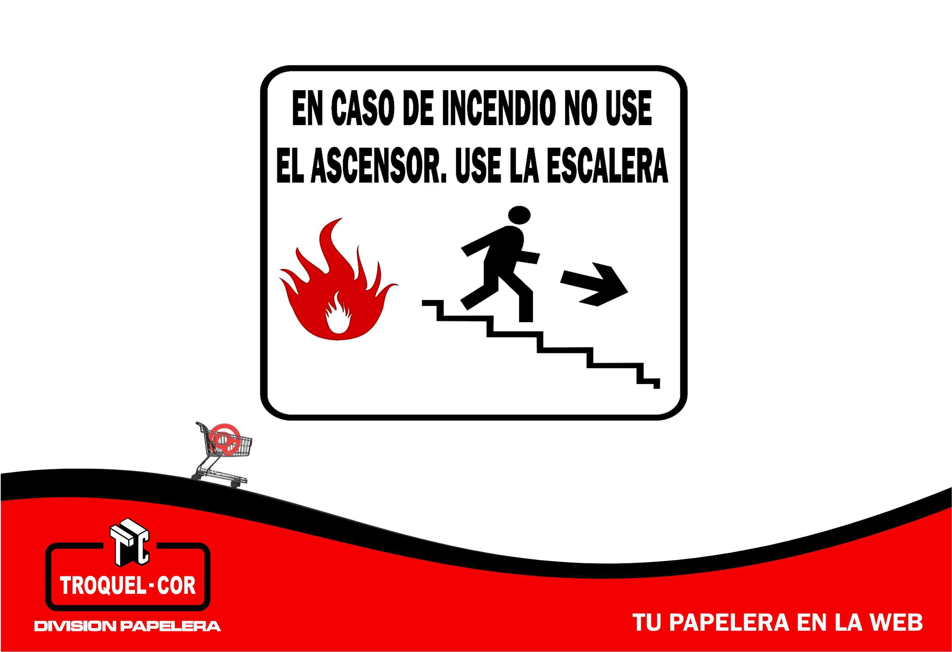ccad5c7aa Cartel Adhesivo En Caso De Incendio No Use 12 X 17 Cm