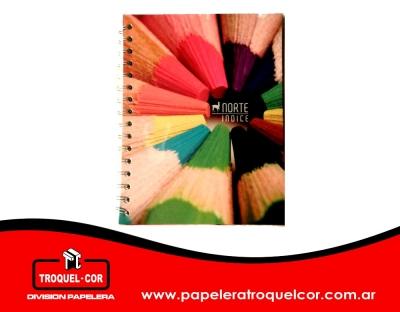 Cuaderno Tapa Flexible Espiral Con Indice Norte 50 Hojas