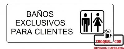 Cartel Adhesivo 6x16 Baños Exclusivos Para Clientes