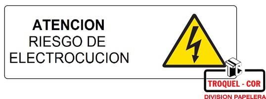 Cartel Adhesivo 6x16 Atencion Riesgo De Electrocucion