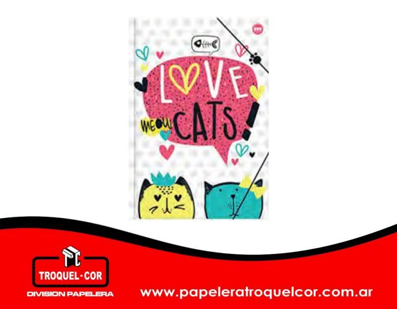 Carpeta 3 Solapas Con Elástico Cutie Cats