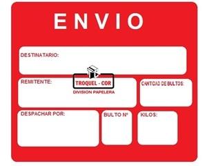 Cartel De Envio Sin Adhesivo Chico X 50 Unidades