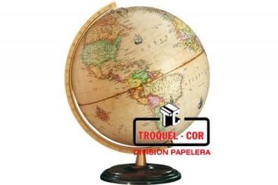 Globo Terraqueo Con Base De Madera Sepia 30 Cm 309a