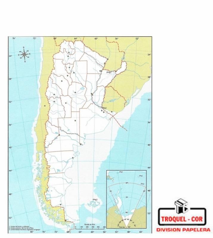 Mapa Politico Nº5 Republica Argentina Rivadavia