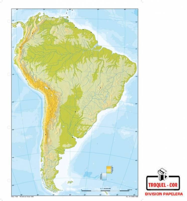 Mapa Físico Político Nº6 América Del Sur