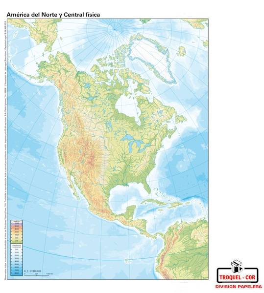 Mapa Físico Político Nº6 América Del Norte