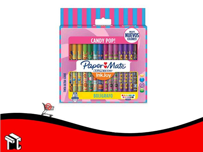 Boligrafo Retractil Paper Mate Candy Pop! X 16