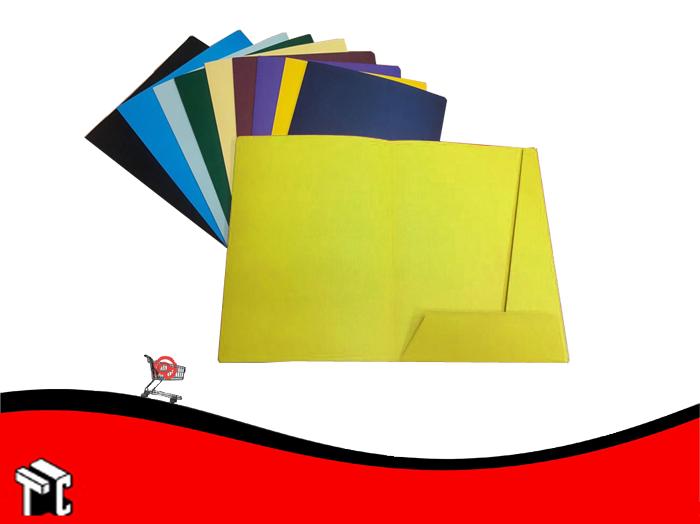 Carpeta A4 3 Solapas Con Porta Tarjeta Amarillo