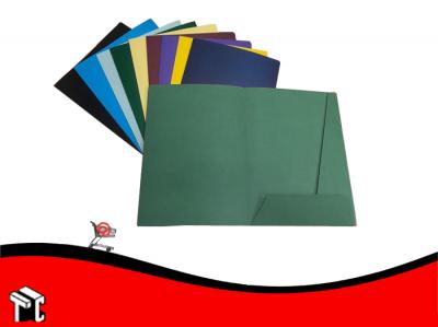 Carpeta A4 3 Solapas Con Porta Tarjeta Verde Oscuro