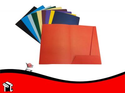 Carpeta A4 3 Solapas Con Porta Tarjeta Rojo