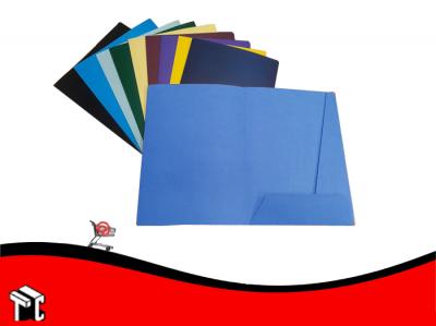 Carpeta A4 3 Solapas Con Porta Tarjeta Azul