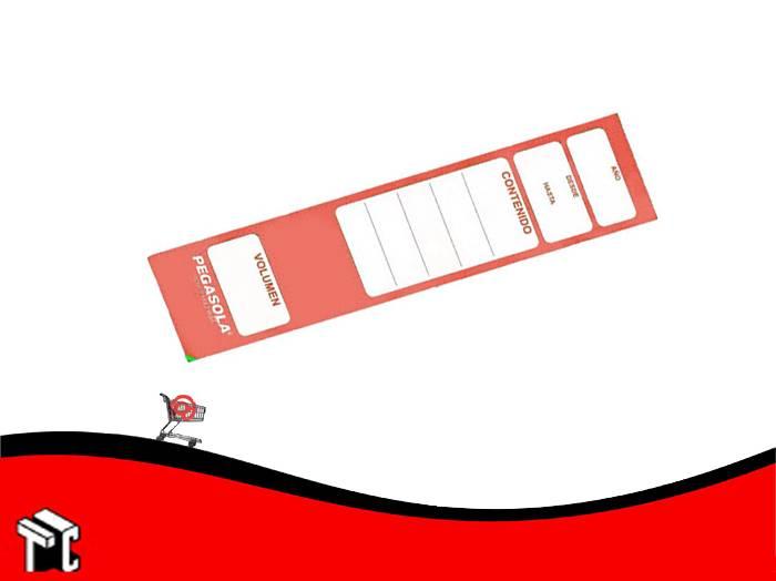 Etiqueta Pegasola Para Lomo Bibliorato Color Rojo × 20 Unidades