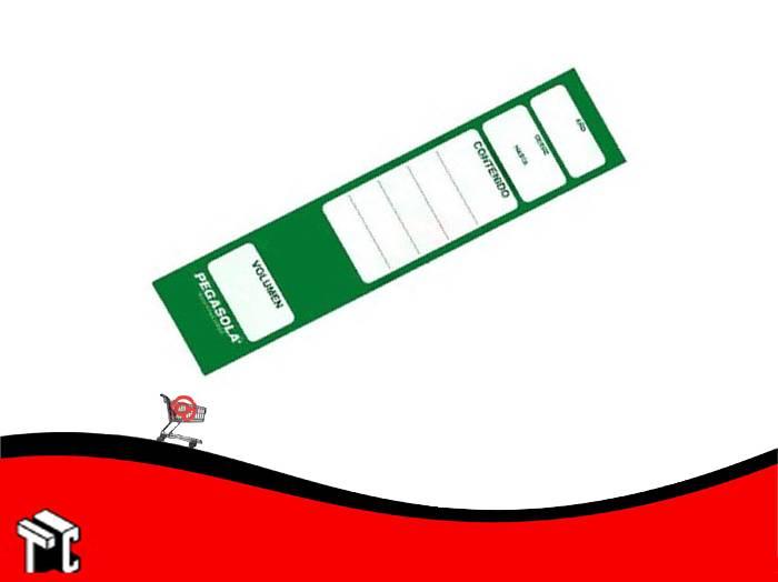 Etiqueta Pegasola Para Lomo Bibliorato Color Verde × 20 Unidades