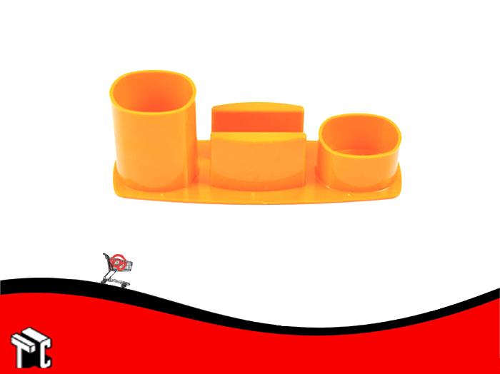 Organizador De Escritorio Liggo Con Porta Taco Naranja