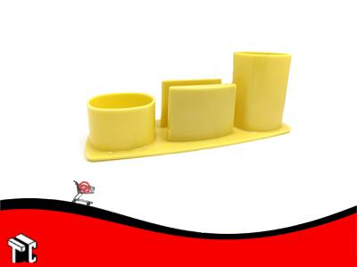 Organizador De Escritorio Liggo Con Porta Taco Amarillo