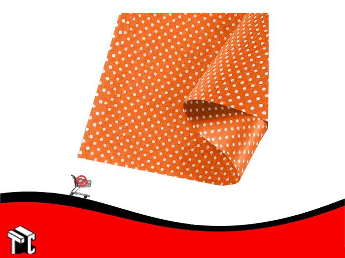 Papel Barrilete 50 X 70 Color Lunares Naranja X 50 Unidades
