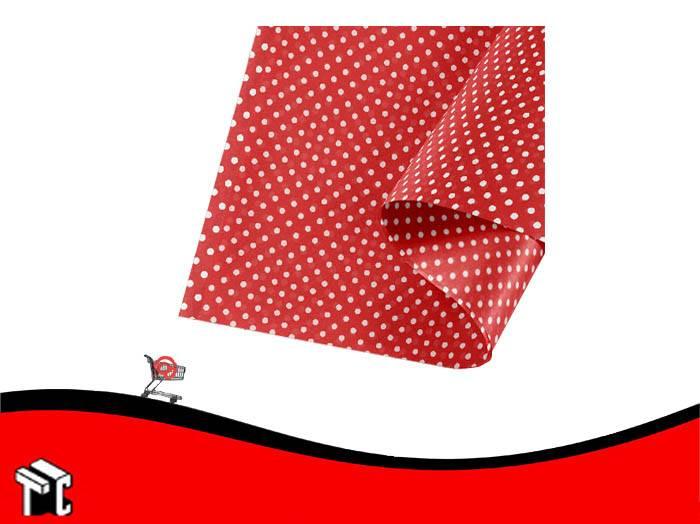 Papel Barrilete 50 X 70 Color Lunares Rojo X 5 Unidades