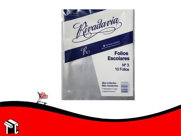 Folios Escolares Rivadavia De Polipropileno X 10 Unidades
