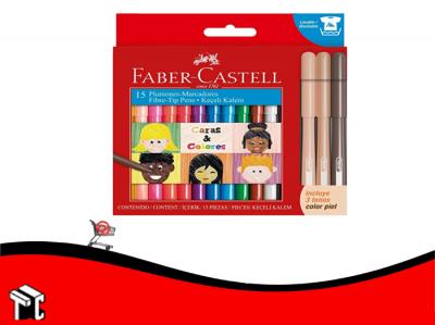 Marcador Caras Y Colores Faber Castell X12 +3 Tonos De Piel