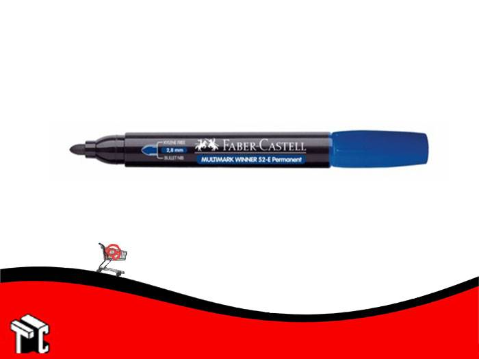 Marcador Permanente Faber Castell 52 Punta Mediana Redondeada Azul