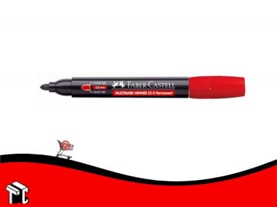 Marcador Permanente Faber Castell 52 Punta Mediana Redondeada Rojo