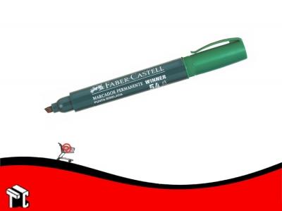 Marcador Permanente Faber Castell 54 Punta Biselada Verde