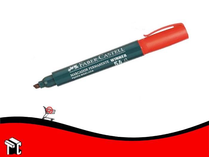 Marcador Permanente Faber Castell 54 Punta Biselada Rojo