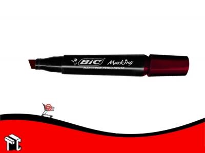 Marcador Permanente Bic Marking Punta Biselada Rojo