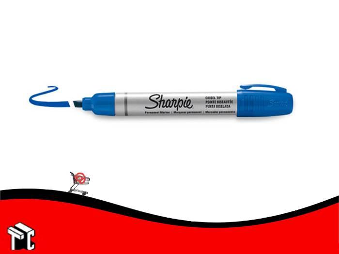 Marcador Permanente Sharpie Punta Biselada Azul
