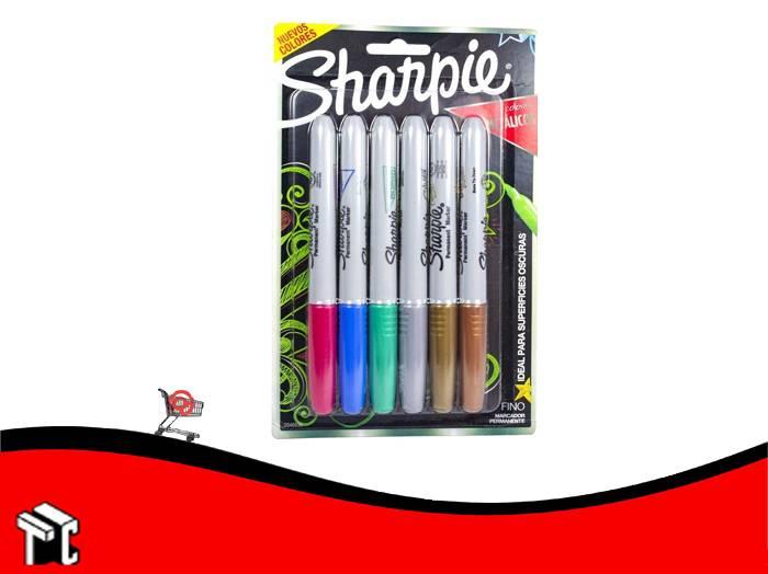 Marcador Permanente Sharpie Metalico X 6 Unidades
