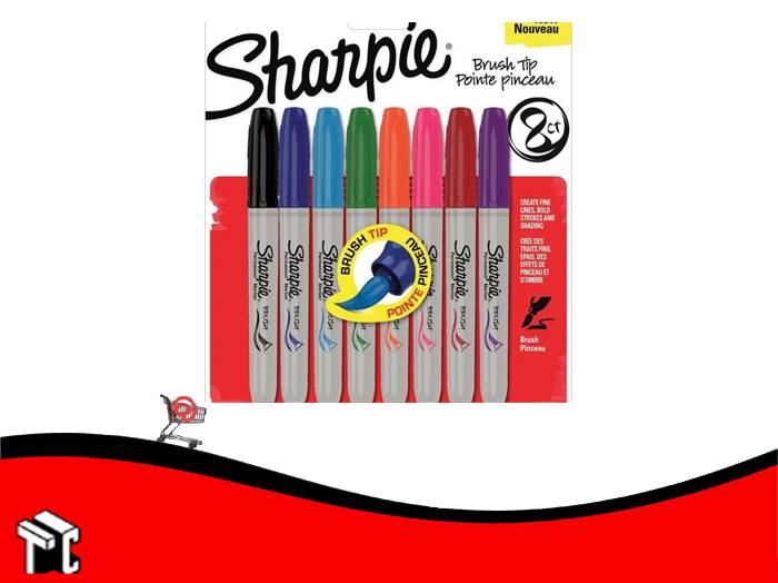 Marcador Permanente Sharpie Brush X 8 Unidades
