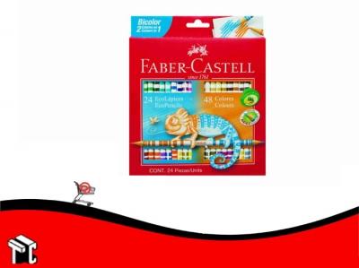 Lapiz De Color Faber Castell Bicolor X 24 Unidades Largos