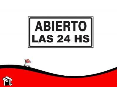 Cartel Adhesivo 6x16 Abierto Las 24 Hs.