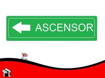 Cartel Adhesivo 6x16 Ascensor Flecha Izquierda