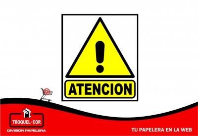 Cartel Adhesivo Atencion 12 X 17 Cm