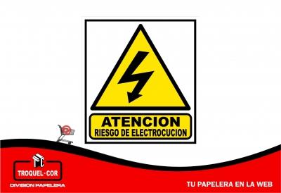 Cartel Adhesivo Atencion Riesgo De Electrocucion 12 X 17 Cm