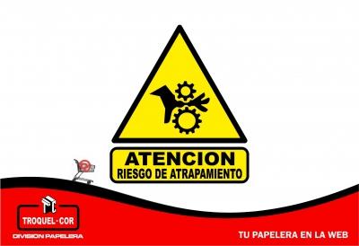 Cartel Adhesivo Atencion Riesgo De Atrapamiento 12 X 17 Cm