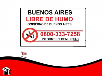 Cartel Adhesivo 21x23 Bs As Libre De Humo
