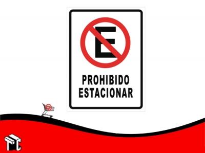 Cartel Adhesivo 21x23 Prohibido Estacionar