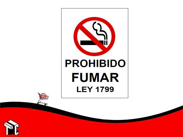 Cartel Adhesivo 21x23 Prohibido Fumar Ley 1799