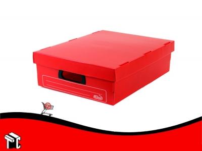Caja Archivo De Plástico Corrugado Con Tapa 800 Roja