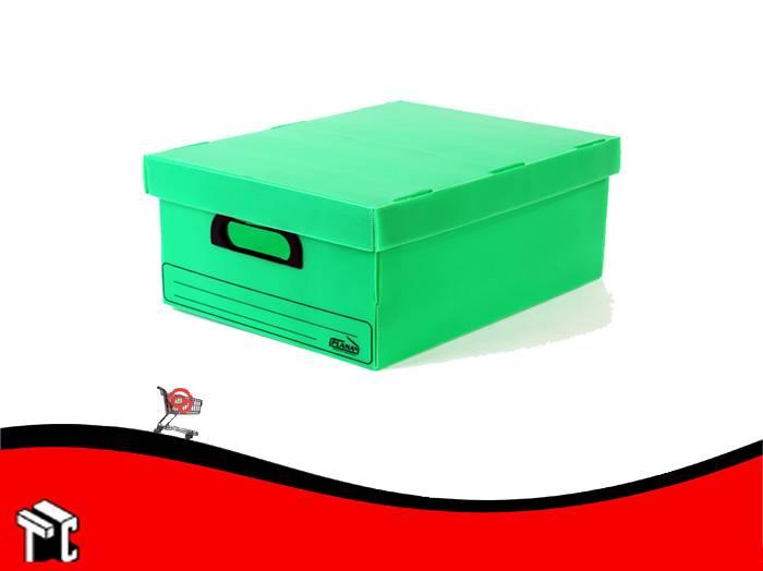 Caja Archivo De Plástico Corrugado Con Tapa 800 Verde
