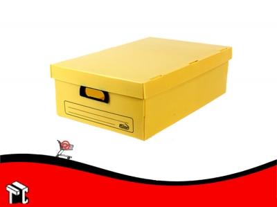 Caja Archivo De Plástico Corrugado Con Tapa 804 Amarilla