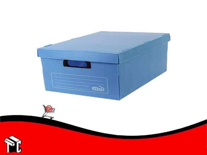 Caja Archivo De Plástico Corrugado Con Tapa 800 Azul