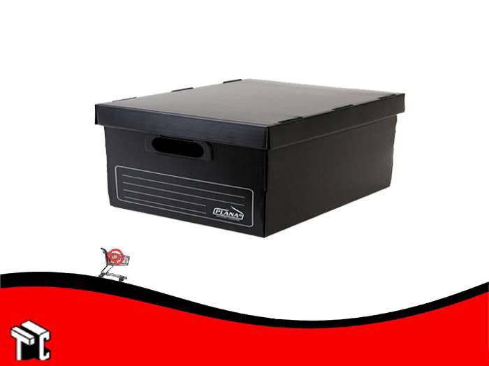 Caja Archivo De Plástico Corrugado Con Tapa 800 Negra