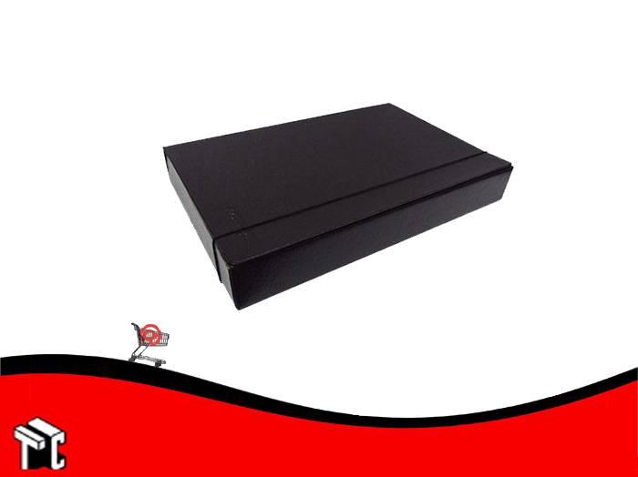 Caja Archivo Util-of Fibra Negra Lomo 6 Cm Con Elástico