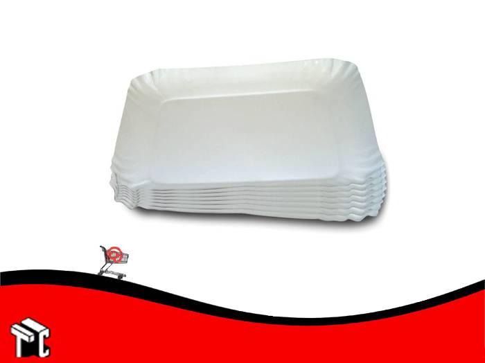 Bandeja De Carton Satinada Color Blanco N.° 6 X 100 Unidades