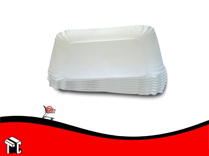 Bandeja De Carton Satinada Color Blanco N.° 8 X 100 Unidades
